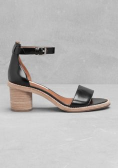 & OTHER STORIES Crafted from smooth leather, these sandals feature a stacked leather block-heel, a single strap across the front and a delicate ankle strap.