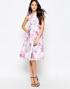 True Violet | True Violet Floral Dress with Exaggerated Pep Hem at ASOS