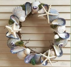 Blue and White Shell Wreath Beach Decor | Nautical Decor | Tropical Decor | Coastal Decor
