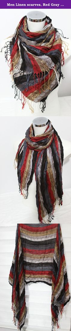 Men Linen scarves, Red Gray Scarf, Ethnic scarves, Striped scarf men, Men linen scarf, Red black beige scarf, Men gift, Men Christmas gift. This beautiful scarf is made from 100 % natural fabrics and organic fabrics Turkey. It is suitable for sensitive skin. It certainly does not allergies. Admire the beautiful flowing fabrics. Very harmonious colors and smooth color transitions. Natural wrinkled appearance is very suitable for a bohemian style clothing. With unisex designs and colors…