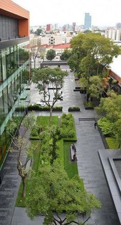 Coyoacán Corporate Campus Landscape by DLC Architects Pinned to Garden Design by BASK Landscape Design. Landscape Design Plans, Landscape Architecture Design, Urban Landscape, Landscape Architects, Landscape Plaza, Landscape Bricks, Villa Architecture, Green Architecture, Architecture Graphics