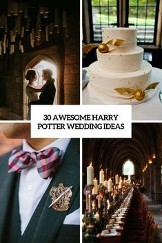 Picture of awesome harry potter wedding ideas cover Harry Potter Wedding Cakes, Theme Harry Potter, Harry Potter Room, Harry Potter Gifts, Wedding Themes, Wedding Decorations, Wedding Ideas, Themed Weddings, Wedding Favors