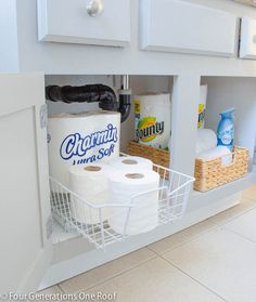 Get those bathroom cabinets organized!  by Four Generations One Roof