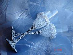 Купить Свадебные бокалы Кружевные - белый, свадебные бокалы, свадебные фужеры, бокалы для свадьбы