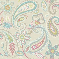 Retro Inspired Paisley Wallpaper In Soft Tones On A Natural Background.  From The Paradise Collection, Indira 98382 By Holden.