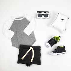 #ootd featuring the ball tee and bermuda short (both on sale now), baby opticals, #thewild animal pillow and new fall #converse (with elasticized laces).