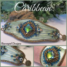CARIBBEAN Bead Embroidered Shibori Silk Cuff designed by RAVENGIRL DESIGNS on Facebook