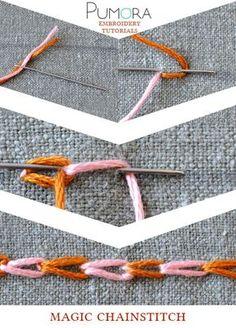Pumora's embroidery stitch lexicon: the magic chain stitch