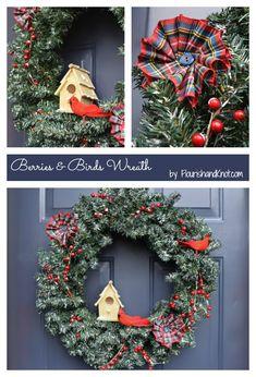 Berries & Birds Christmas Wreath | DIY Holiday Wreath Hop | flourishandknot.com