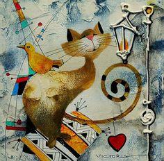 Живопись современных художников по теме музыка, кофе, кошки, дождь и другое