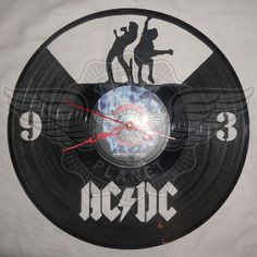 DIY AC/DC 2 Decorative Designed Modern Vinyl Record Wall Clock Silent Large New Bedroom Livingroom Office Decor Analog Universal Decorate your home Best gift for friend, girlfriend or boyfriend , 12 inch Vinyl Record Crafts, Vinyl Cd, Record Art, Vinyl Records, Ac Dc, Clock Art, Wall Clocks, Diy Ac, Wall Clock Silent