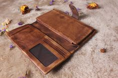 Brown leather wallet womanleather wallet by MagicLeatherStudio