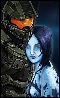 This is a portrait of Master Chief and Cortana made after I completed Halo I really enjoyed that game. Halo Reach Emile, Master Chief And Cortana, Cortana Halo, Aliens, Best Wallpapers Android, Halo Series, Halo Game, Red Vs Blue, Wedding Photography And Videography