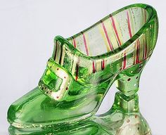 Buckle Shoe/Slipper in Jolly Green Ceramic Shoes, Glass Ceramic, Glass Shoes, Fenton Glassware, Glass Figurines, Glass Slipper, Carnival Glass, Christian Louboutin, Antique Glass