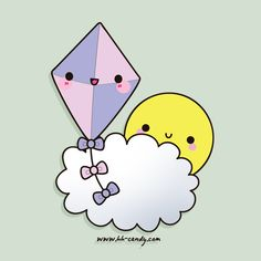 Kawaii sun and kite Kawaii Doodles, Kawaii Art, Kawaii Anime, Cloud Illustration, Kawaii Illustration, Kawaii Drawings, Cute Drawings, Kawaii Crush, Japanese Drawings