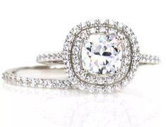 2.0 CTW Round Brilliant Diamond Halo Engagement/Wedding Ring Set. Set in 14k Solid White Gold