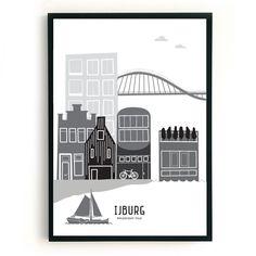 Poster IJburg zwart-wit-grijs