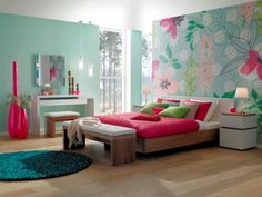 Having a bright flower wallpaper and co-ordinating colours in the room is a great way to spice up room décor!