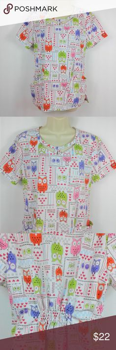 "Dickies Womens Scrub Top Dickies Women's Scrub Top Size Medium White Owl Print Cinched Back Fun Fall Heart  Very nice condition. Pretty and fun. Note measurements to assure proper fit.  Size: Med Chest (pit to pit): 19-1/2"" Height (back of collar to hem): 24"" Dickies Tops Blouses"