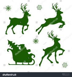 set of silhouettes of Christmas reindeer and Santa Illustration , Christmas Wood Crafts, Christmas Art, Christmas Decorations, Christmas Ornaments, Vector Christmas, Reindeer Silhouette, Silhouette Art, Rennes Animal, Stencil
