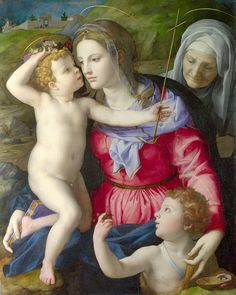 Bronzino (Agnolo di Cosimo) Madonna and Child with Saint John Baptist (1540)