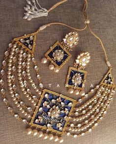 Immensely pretty things coming out of our treasure This meenakari necklace is more than just jewellery! Its regal its grand its royal and its beauty ! The magnificent blue meenakari block necklace ready to serve you! #mortantra #bridaljewellery