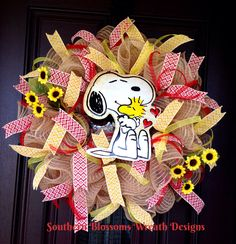 A personal favorite from my Etsy shop https://www.etsy.com/listing/488178314/snoopy-wreath-snoopy-and-woodstock