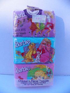 Vintage Mattel 1988 Barbie Facial Tissues 3 Pack , Barbie Print Children's Tissues , Barbie Accessories , 1980's Barbie , Barbie Collectible by ShersBears on Etsy