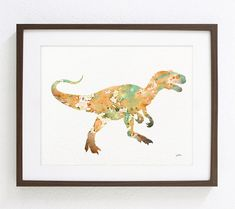 Orange TRex Dinosaur Art Print  Watercolor Print  by ElfShoppe, $30.00