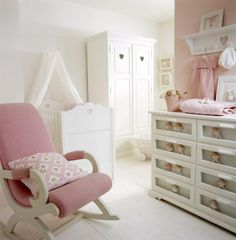 Nursery three baby nursery #design via @Sharon Macdonald Buckels Creutz #baby #nursery ideas; I like the shelf above the dresser...but wouldn't the nice dresses get dirty/dusty while on display there? So cute though...