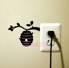 Items similar to Beehive Velvet Wall Decal - Bumble Bee Wall Decor - Bee Hive On Branch Laptop Sticker - Fabric Art Home Decor - Mac Decal - Nursery Decor on Etsy Simple Wall Paintings, Wall Painting Decor, Vinyl Wall Stickers, Vinyl Wall Art, Wall Decals, Wall Drawing, Creative Walls, Wall Art Designs, Plaque