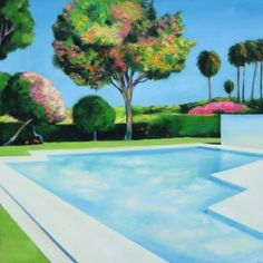 "Buy ""Trees in bloom"", a Oil on Canvas by Ieva Baklane from Canada. It portrays: Garden, relevant to: serenity, blue, summer, california, swimming pool, Los Angeles, Palm Trees, trees in bloom, garden ""Trees in bloom"" 36"" X 36"" oil/canvas 2014. This painting was inspired by serene gardens and architectural pools of California. $3700 USD"