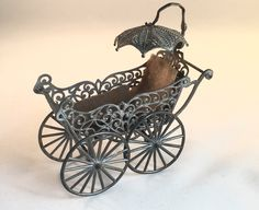 Antique Victorian Miniature Small Tiny Metal Filigree Doll Stroller Pram Carriage 1893 Dollhouse Parasol by WaterWitchAntiques on Etsy