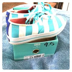 KATE ♠️ Spade KEDS Aqua and white stripe Kate spade KEDS. Only worn 1 time. kate spade Shoes Flats & Loafers