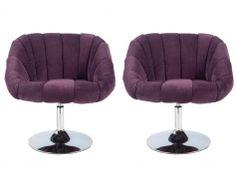 Lot de 2 fauteuils pivotants LAREDO en microfibre - Violet