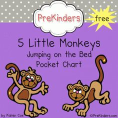 5 Little Monkeys printable pocket chart set from www.prekinders.com via www.preschoolspot.com #preschool