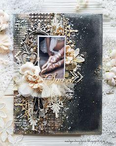 Handmade by Nadya Drozdova: Черный и нежный холст или ПД для Донецкого скрап клуба