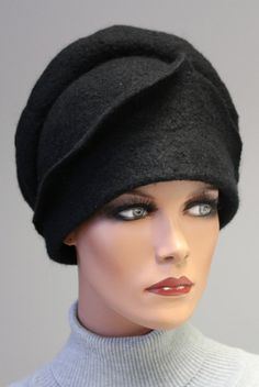 Felted sculpture hat Black stylish madam