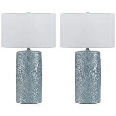Bravo Metallic Blue Ceramic Table Lamp Set of 2
