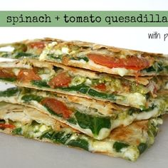 Spinach & Tomato Quesadilla with Pesto Recipe - ZipList www.facebook.com/angelabuckfitness If you're interested in redefining your life to become healthier, email me at redefinewithangela@gmail.com. I would love to help you! #redefine #redefinewithangela #redefined #recipe #snack #wrap #breakfast #lunch #dinner #Italian #pizza #food #health #healthy #nutrition #cleaneating #lowcalorie #highprotein #fitness #exercise #workout #weightloss #fitspiration #mealplanning www.redefinewithangela.com