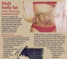 lose lower belly fat, vegetables for weight loss, lose weight belly fat - Melt belly fat with seaweed body wrap. Melt Belly Fat, Lower Belly Fat, Burn Belly Fat Fast, Lose Belly, Homemade Body Wraps, Seaweed Wrap, Weight Loss Wraps, Best Weight Loss Exercises, Tips Belleza