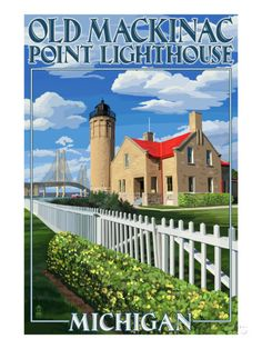 Mackinac Island, Michigan - Old Mackinac Lighthouse Kunst van Lantern Press bij AllPosters.nl