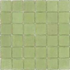 Light Sea Foam- Green 2'' x 2'' Glass Glossy Tile