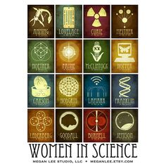 Inspirational Women in Science Art Print • 8 inches x 10 inches (Image is surrounded by a white border) • Printed on high quality Kodak Professional Supra Endura Digital Paper • Listing is for the print only and does not come matted or framed (no water mark or text included beneath designs)