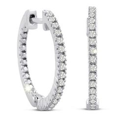 1/4ct Pave Style Diamond Hoop Earrings In Sterling Silver, Hidden Snap Backs