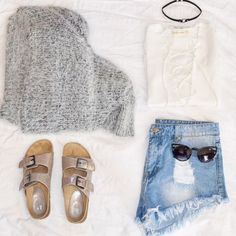 "Shop the look with our ""Cozi Cardi"" sweater, ""White Body"" Bodysuit, ""Denim Shorts"" and ""Invader"" sunglasses 