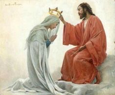 The crowning of the Blessed Virgin Mary as Queen of Heaven. Blessed Mother Mary, Blessed Virgin Mary, Virgin Mary Art, Queen Mother, Religious Pictures, Jesus Pictures, Catholic Art, Religious Art, Catholic Quotes