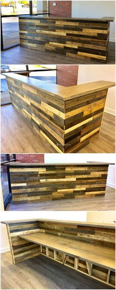 Let us start with the office furniture needs, here you can see a neatly created recycled wood pallets reception desk. The pallets are painted with sober light and dark colors to suit the place where it is placed. There is no need to buy the desk from the market when you can copy this exact idea with your hands.