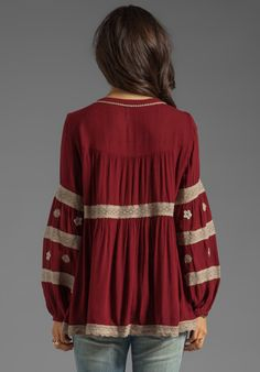 Maroon embroidered long sleeve top
