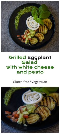 Grilled Eggplant Salad with White Cheese and Pesto - :: Nutrizonia :: Eggplant Salad, Grilled Eggplant, White Cheese, Small Tomatoes, Star Food, Homemade Pesto, Eggplant Recipes, Delicious Recipes, Kitchens